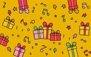 Background com presentes, notas musicais e fundo amarelo - Geração M