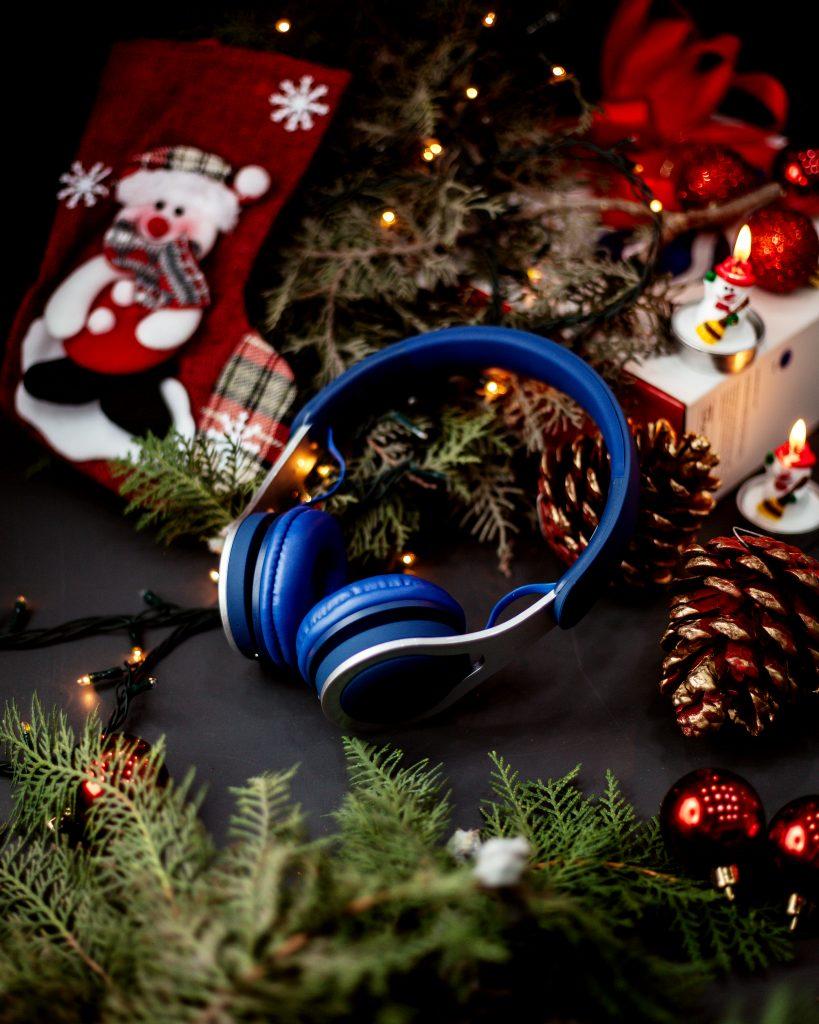 head fone azul natal decoração